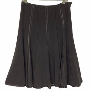 Katherine Barclay Black Piped Trim Full Swing Skirt Size 8